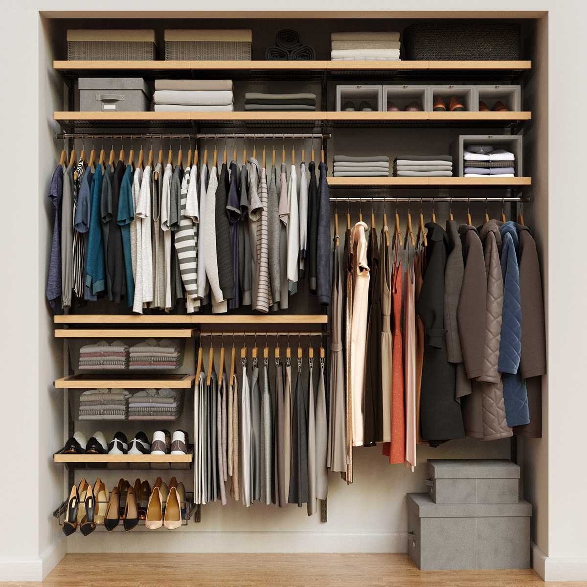 Elfa Décor 7' Graphite & Birch Reach-In Closet