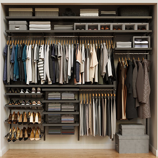 Elfa Décor 8' Graphite & Grey Reach-In Closet