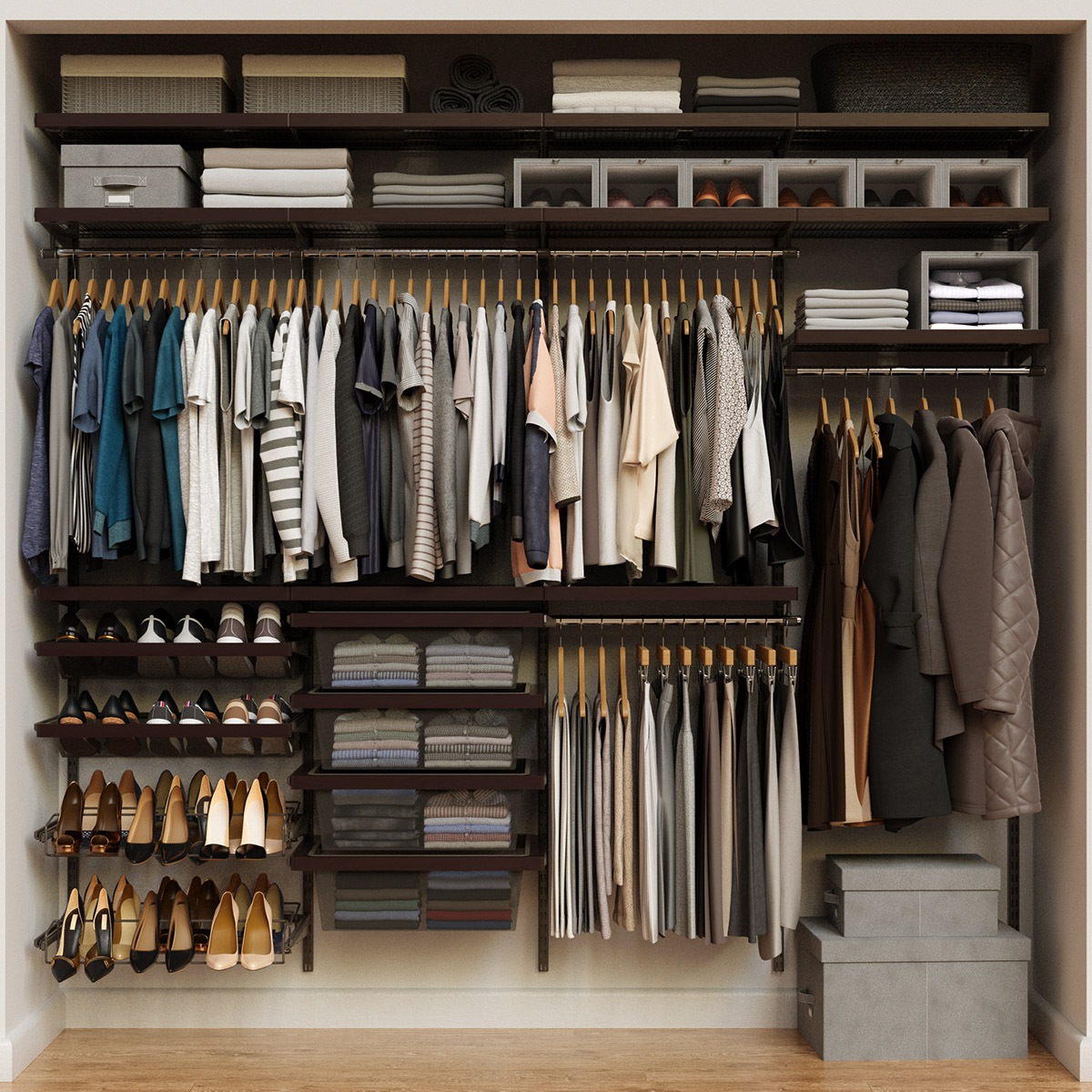 Elfa Décor 8' Graphite & Walnut Reach-In Closet