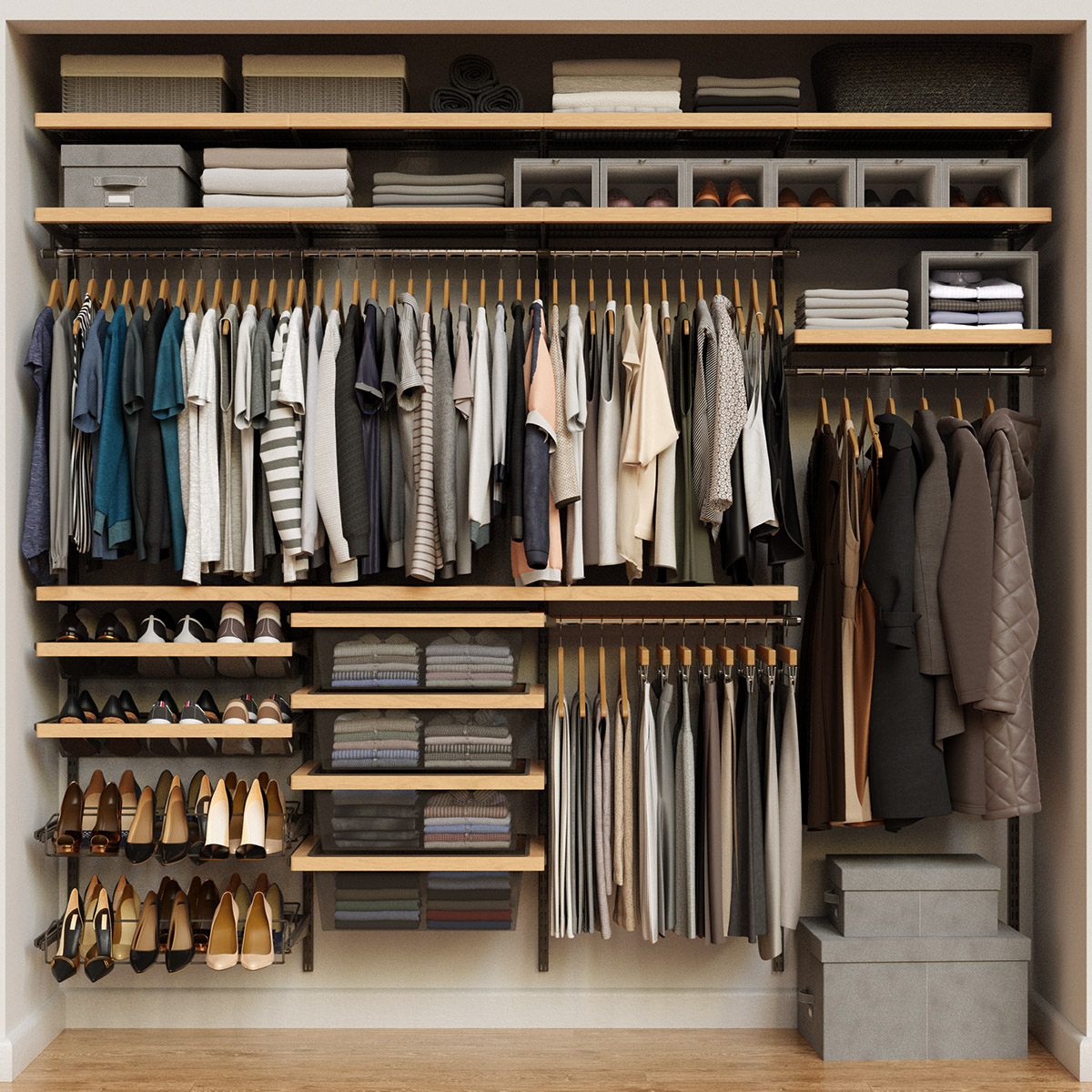 Elfa Décor 8' Graphite & Birch Reach-In Closet