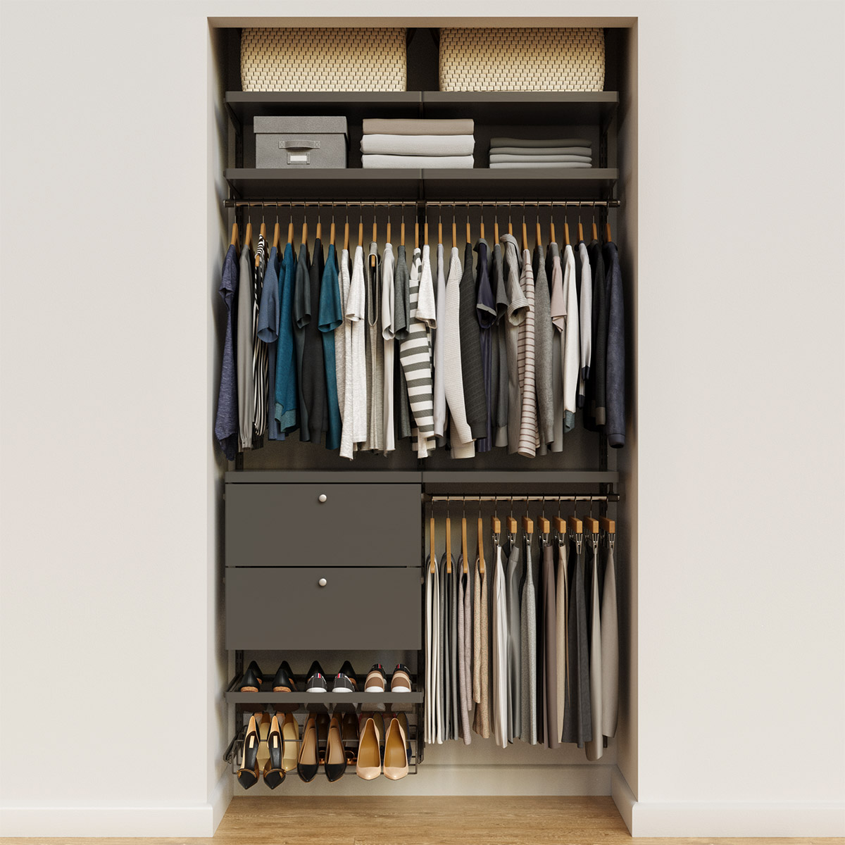 Elfa Decor 4' Graphite & Grey Reach-In Drawer Front Closet