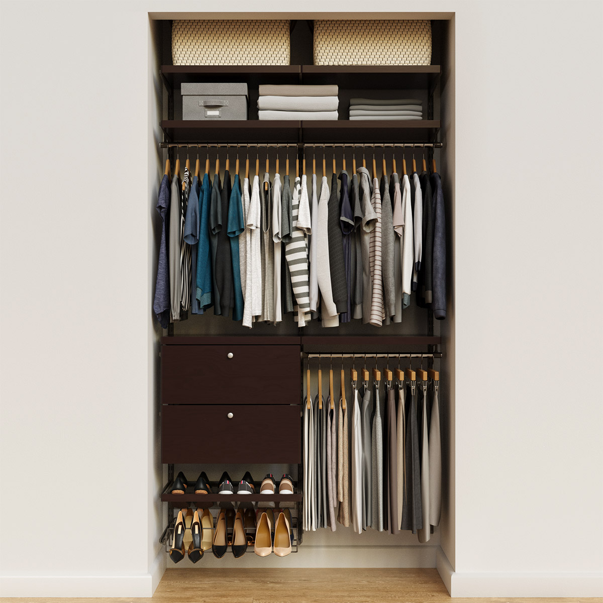 Elfa Decor 4' Graphite & Walnut Reach-In Drawer Front Closet