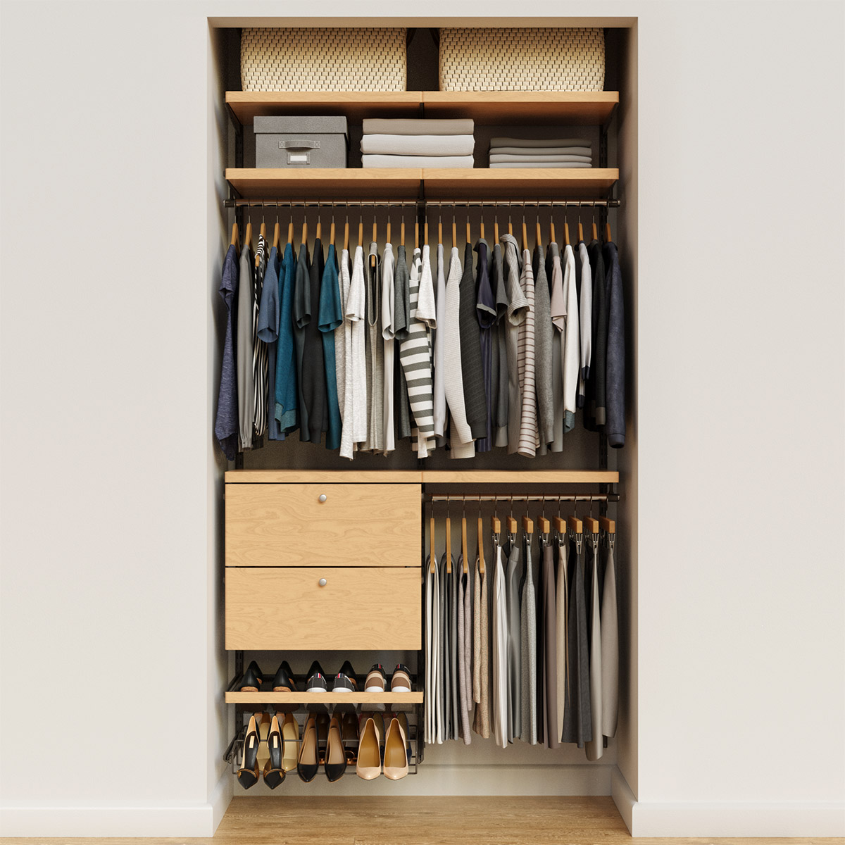 Elfa Decor 4' Graphite & Birch Reach-In Drawer Front Closet