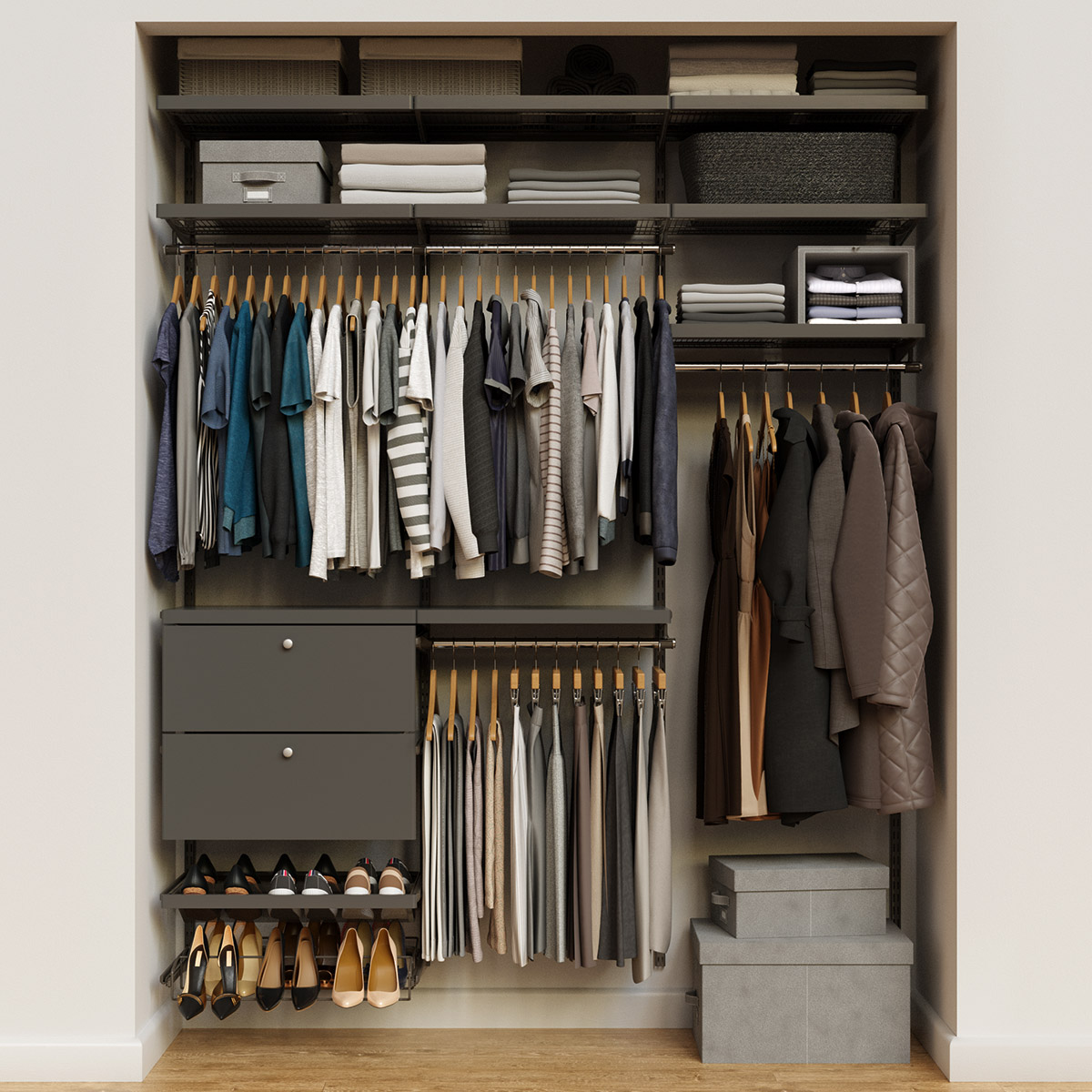 Elfa Décor 6' Graphite & Grey Reach-In Drawer Front Closet