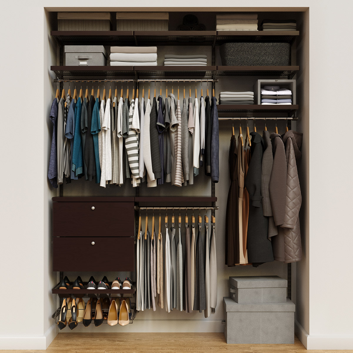 Elfa Décor 6' Graphite & Walnut Reach-In Drawer Front Closet