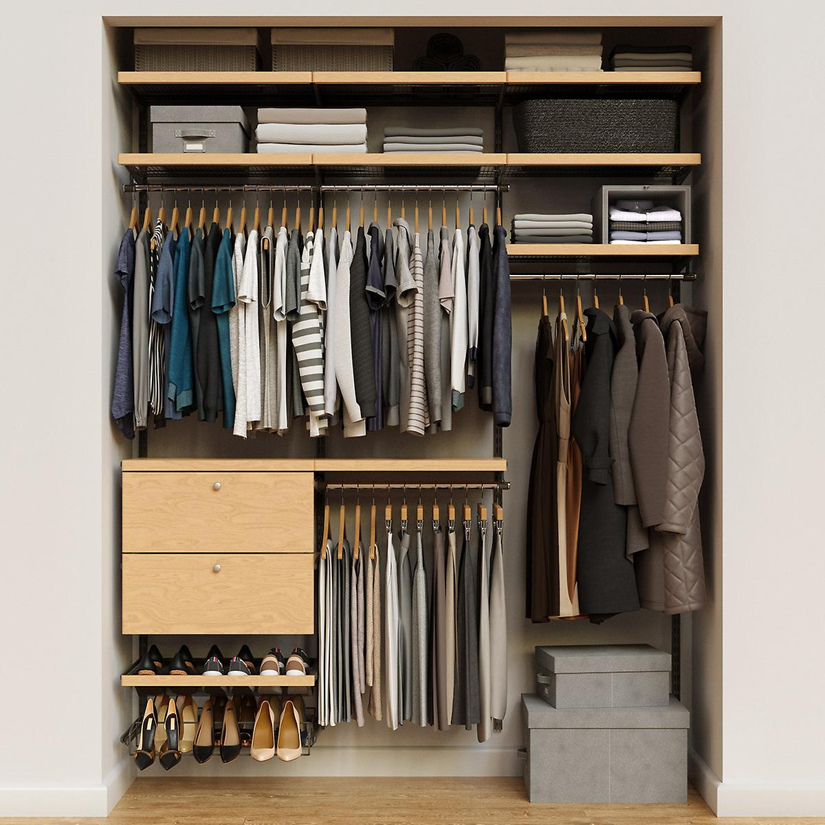 Elfa Décor 6' Graphite & Birch Reach-In Drawer Front Closet