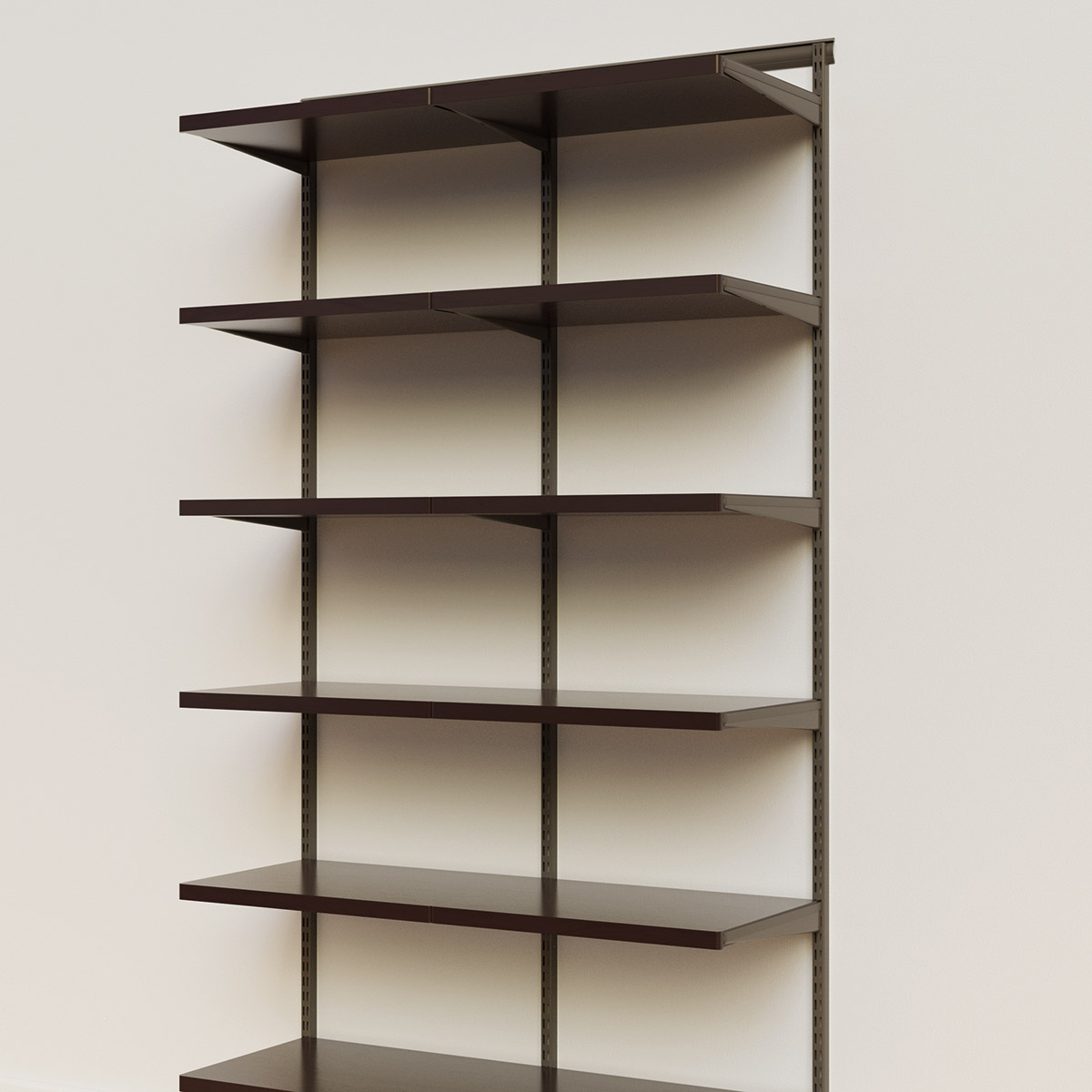 Elfa Décor 4' Graphite & Walnut Basic Shelving Units for Anywhere