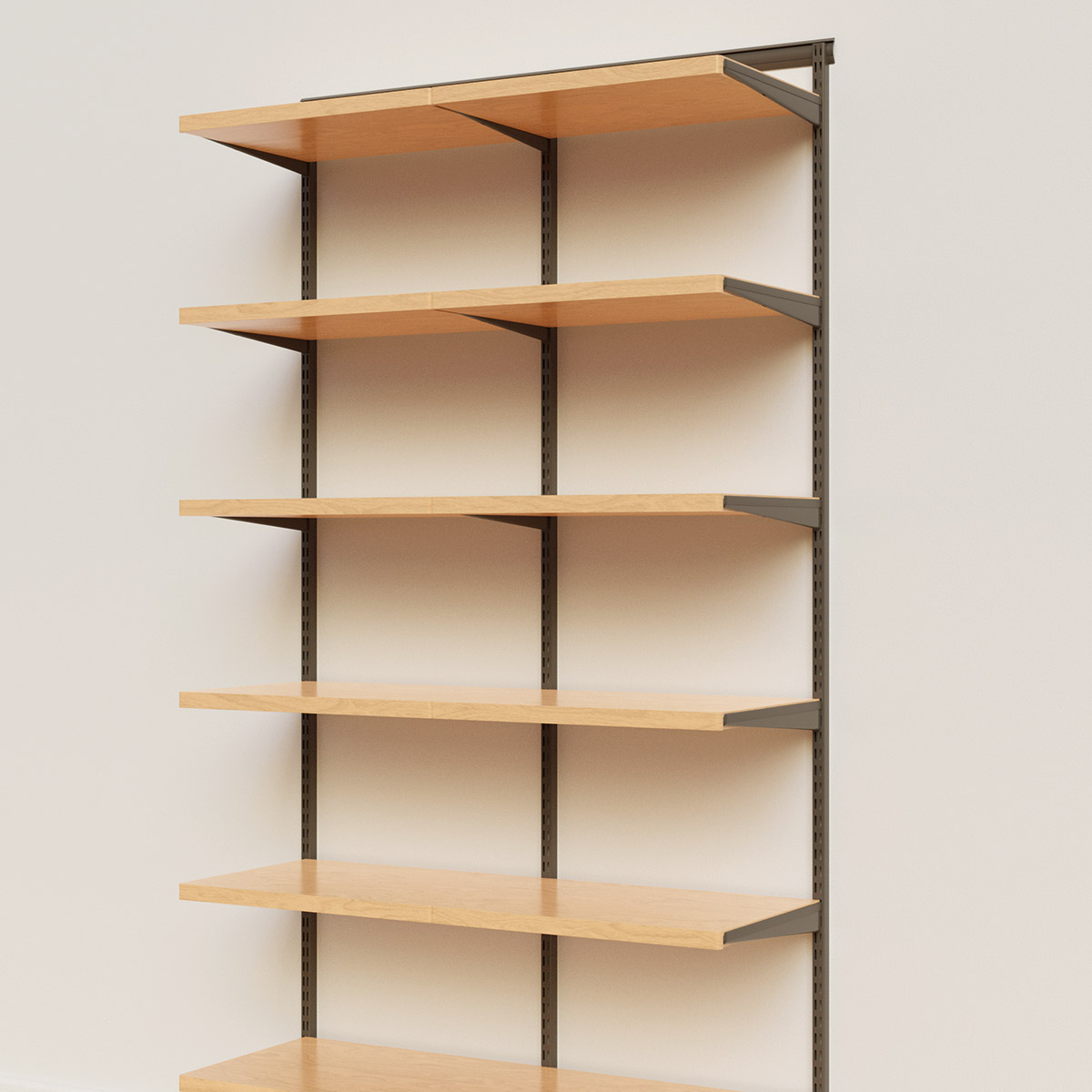 Elfa Décor 4' Graphite & Birch Basic Shelving Units for Anywhere