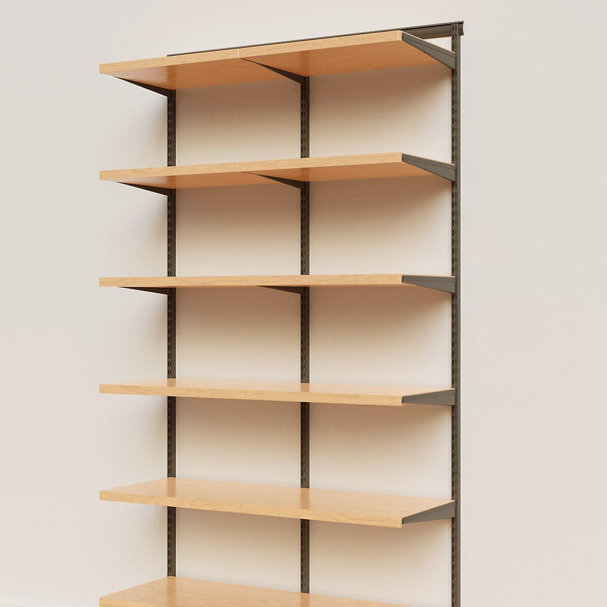 Elfa Décor 4' Graphite & Birch Basic Shelving Units for Anywhere