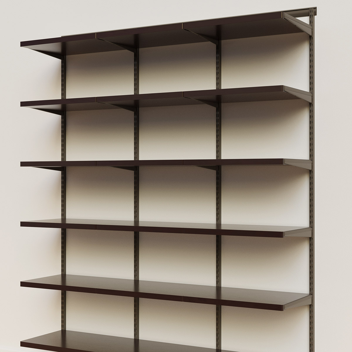 Elfa Décor 6' Graphite & Walnut Basic Shelving Units for Anywhere