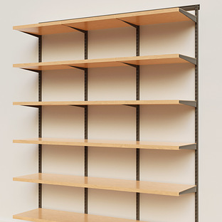 Elfa Décor 6' Graphite & Birch Basic Shelving Units for Anywhere