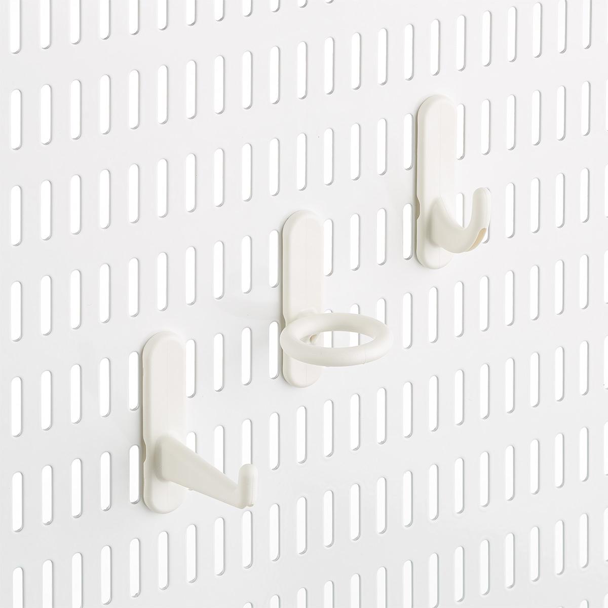 White Elfa Utility Pegboard Hooks