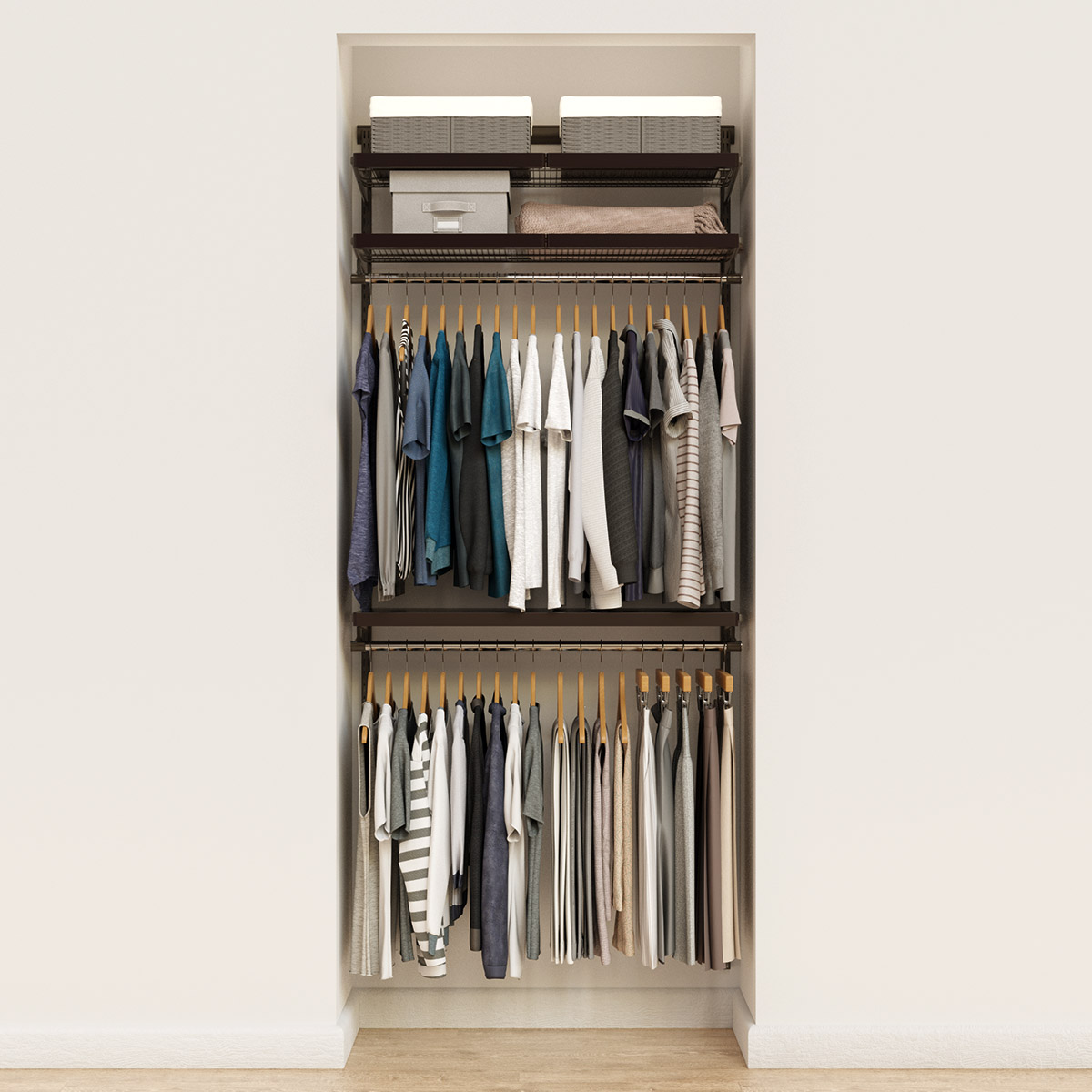 Elfa Décor 3' Graphite & Walnut Reach-In Closet