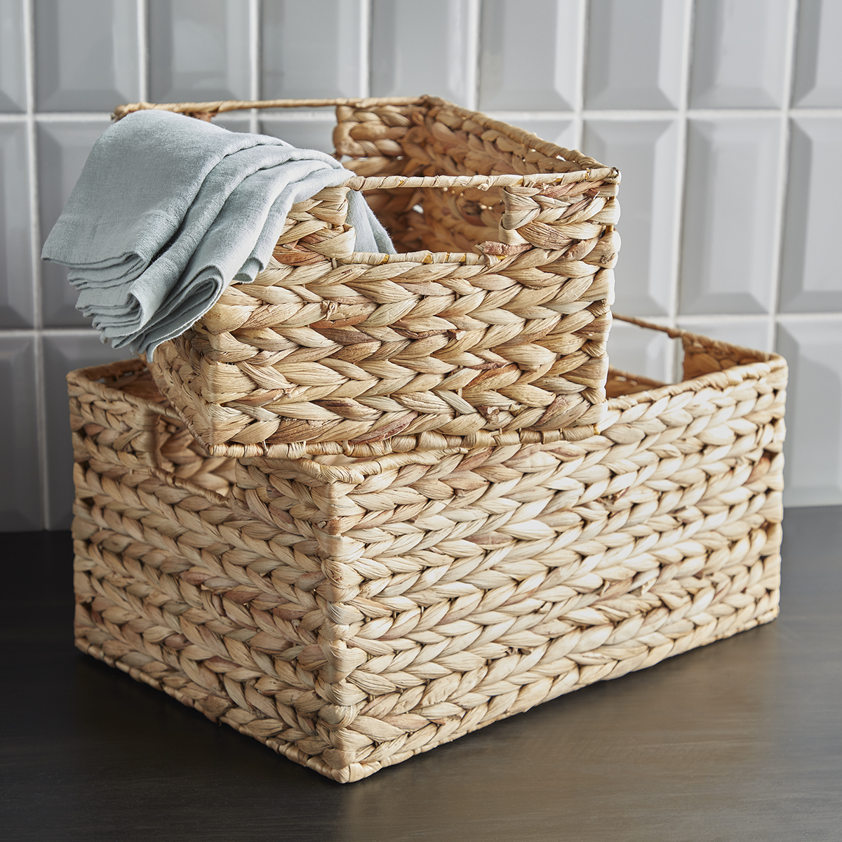 Cases of Water Hyacinth Storage Bins with Handles