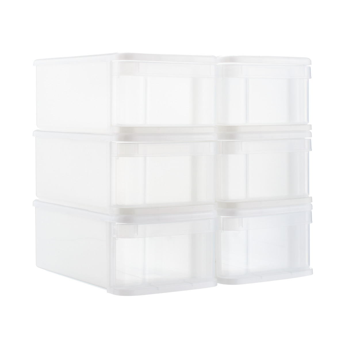 Clear Small Tint Stackable Storage Drawer Case of 6