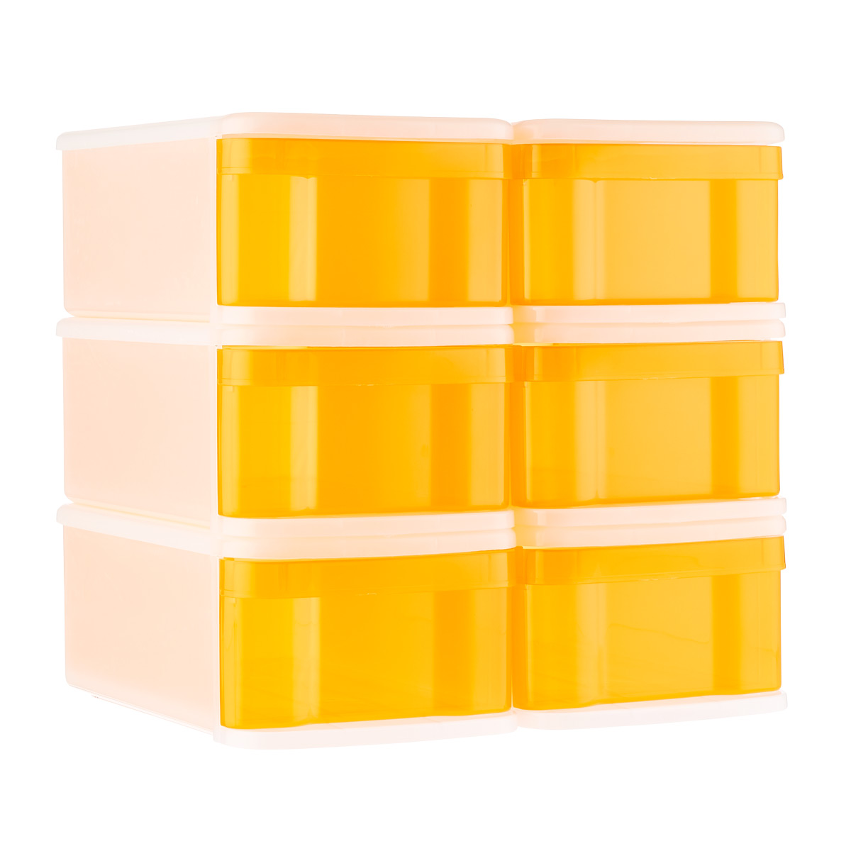 Tangerine Small Tint Stackable Storage Drawer Case of 6
