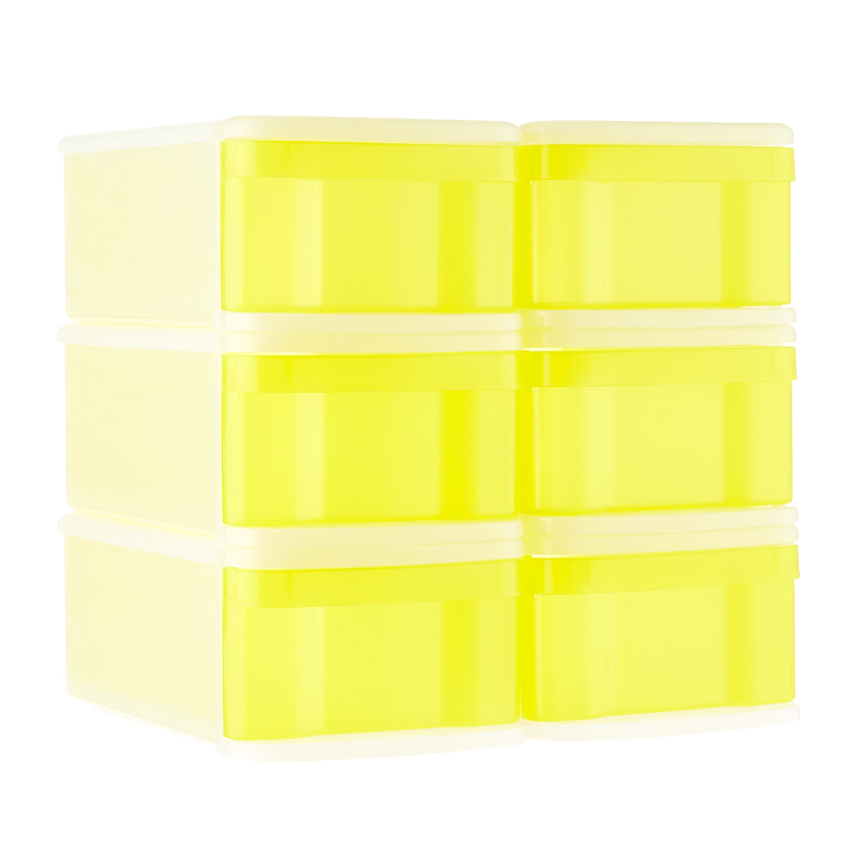 Lemon Small Tint Stackable Storage Drawer Case of 6