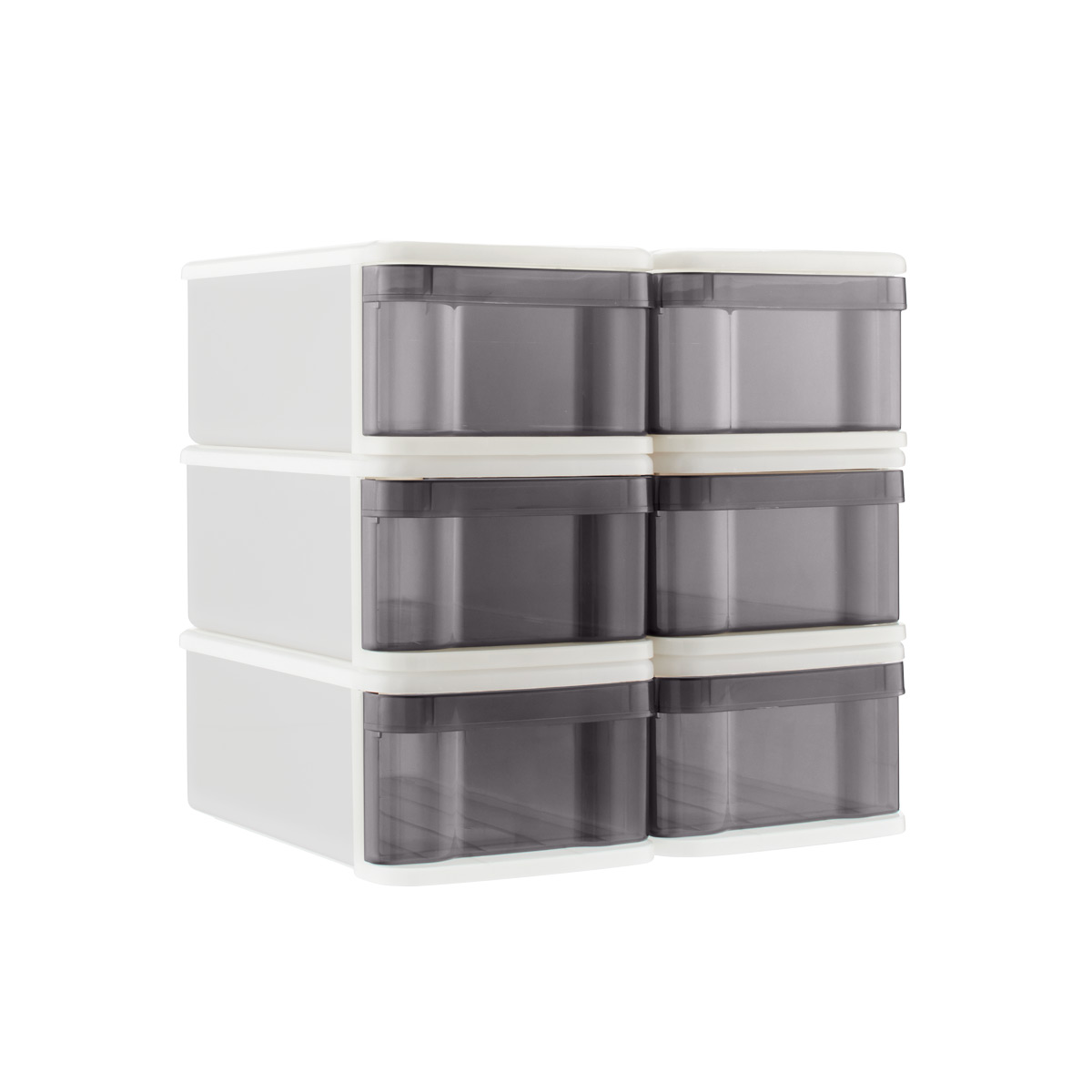 Grey Small Tint Stackable Storage Drawer Case of 6