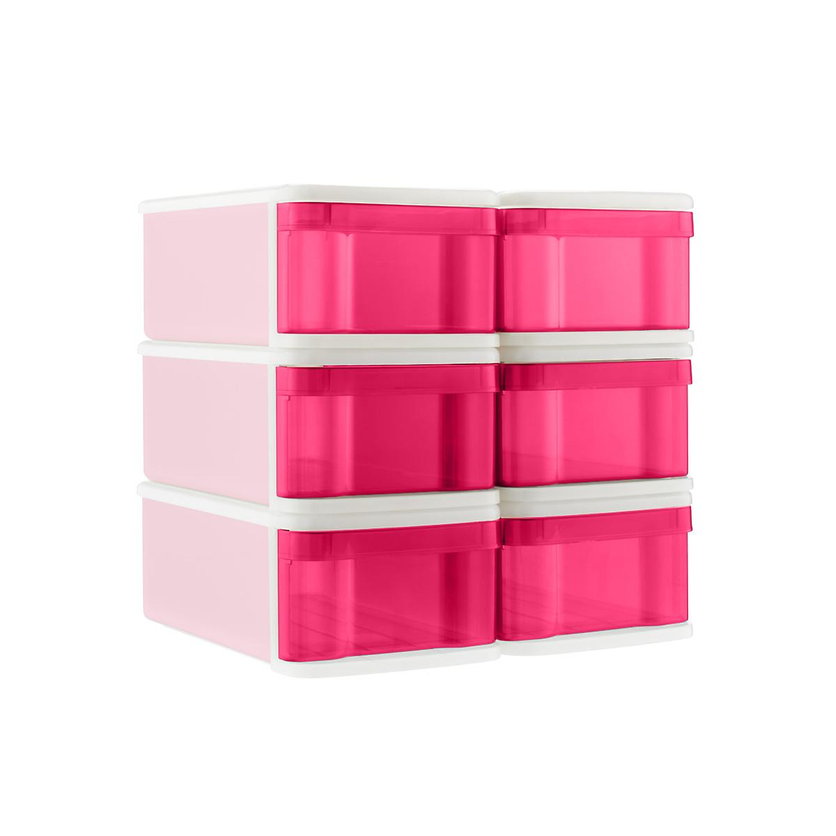 Fuchsia Small Tint Stackable Storage Drawer Case of 6
