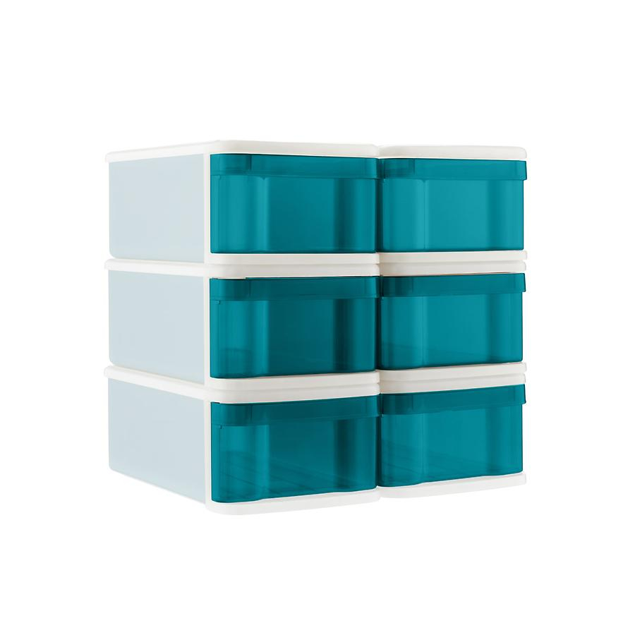 Peacock Small Tint Stackable Storage Drawer Case of 6