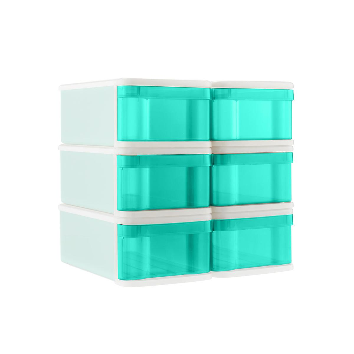 Aqua Small Tint Stackable Storage Drawer Case of 6