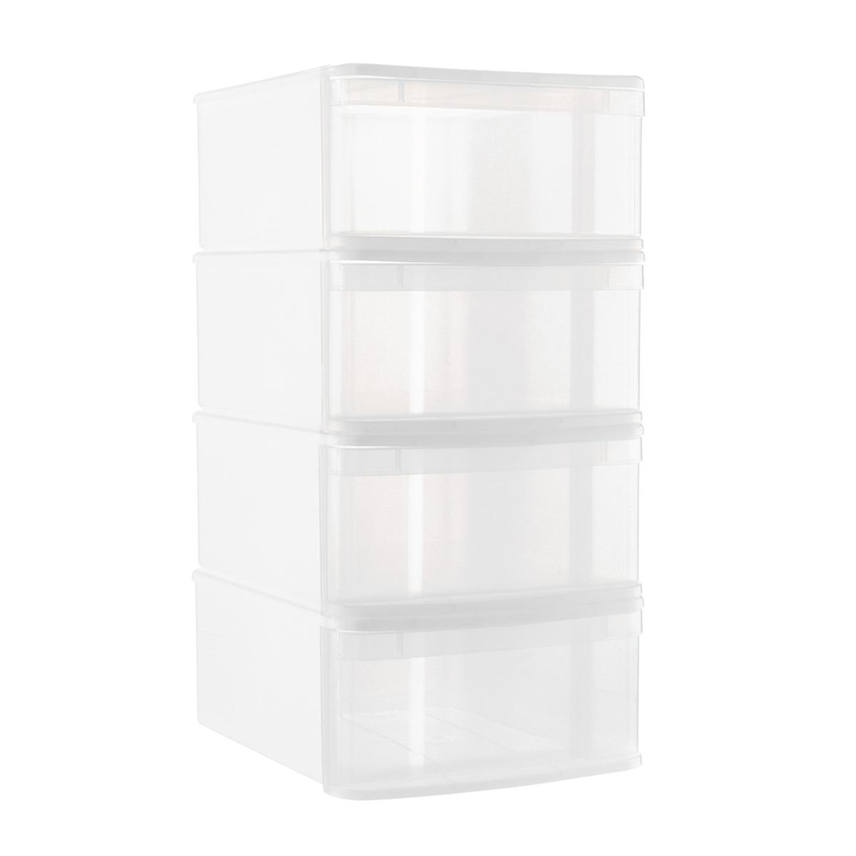 White Large Tint Stackable Storage Drawer Case of 4