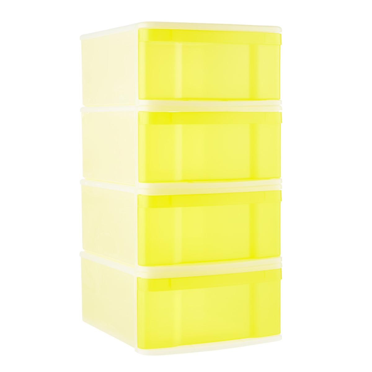 Lemon Large Tint Stackable Storage Drawer Case of 4