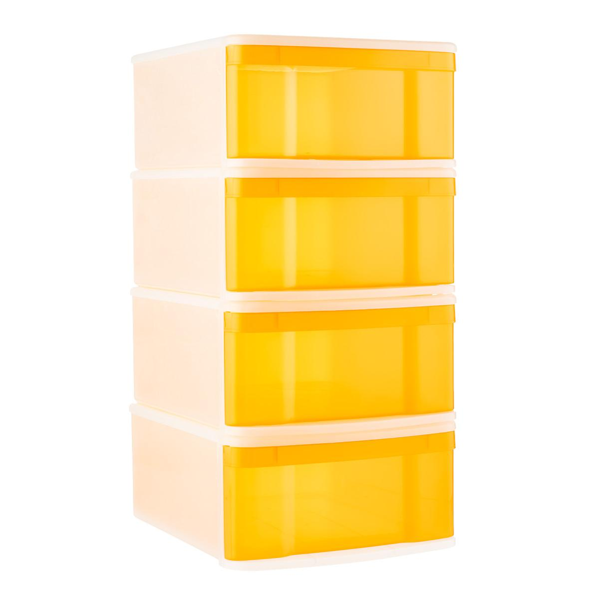 Tangerine Large Tint Stackable Storage Drawer Case of 4