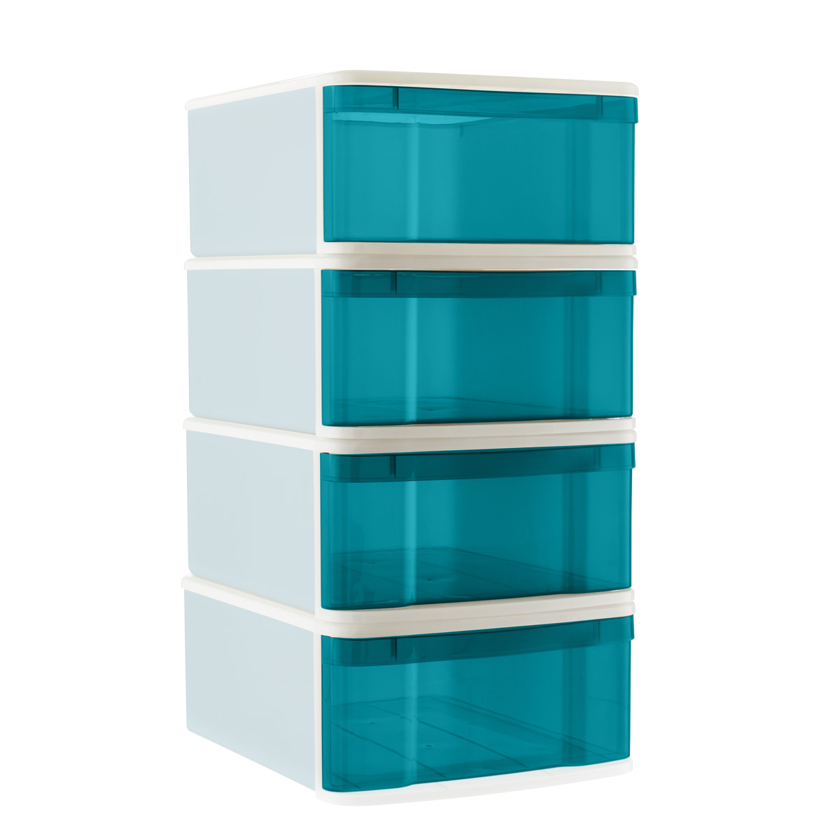 Peacock Large Tint Stackable Storage Drawer Case of 4