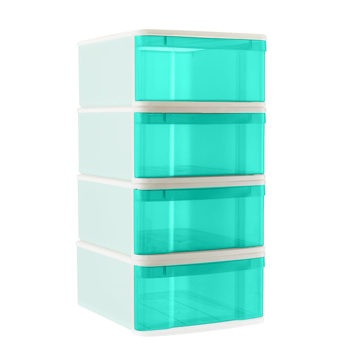 Aqua Large Tint Stackable Storage Drawer Case of 4