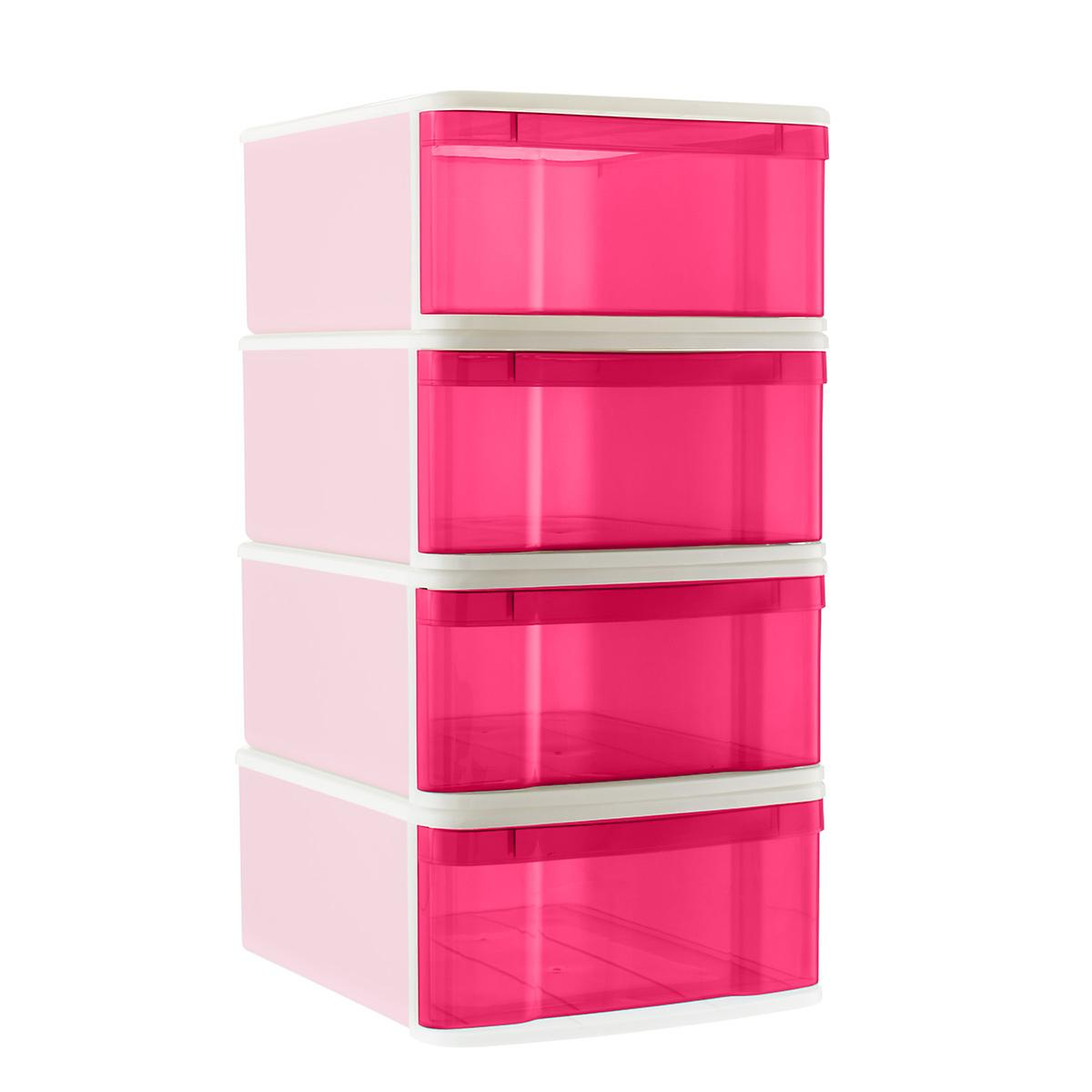 Fuchsia Large Tint Stackable Storage Drawer Case of 4