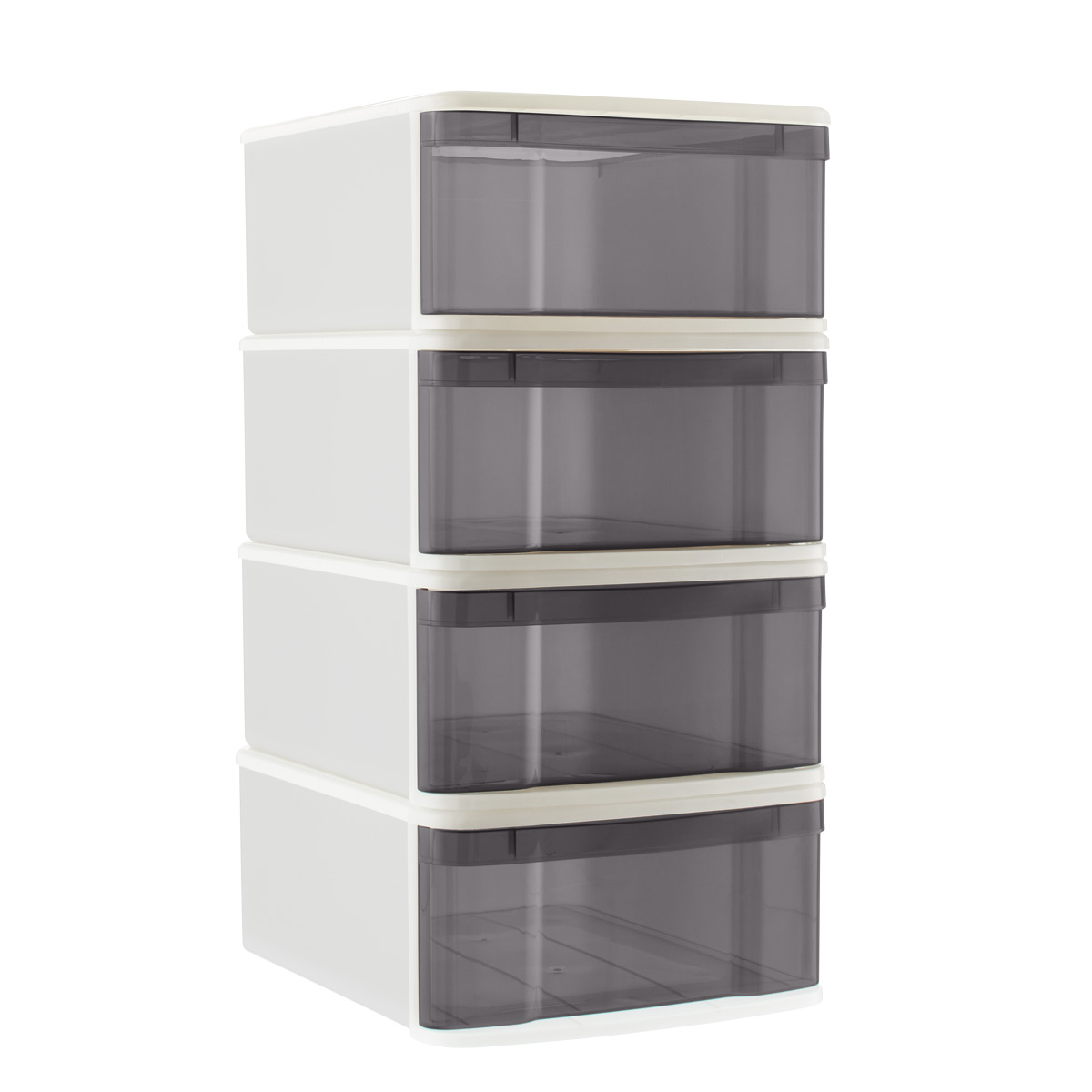 Grey Large Tint Stackable Storage Drawer Case of 4