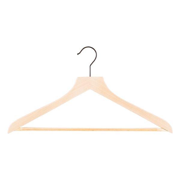 Lotus Wooden Shirt Hangers with Ribbed Bar Case of 20
