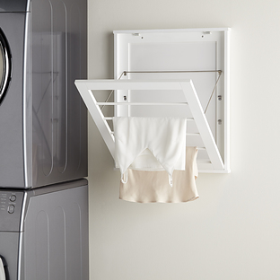 Wall-Mounted White Wooden Drying Rack