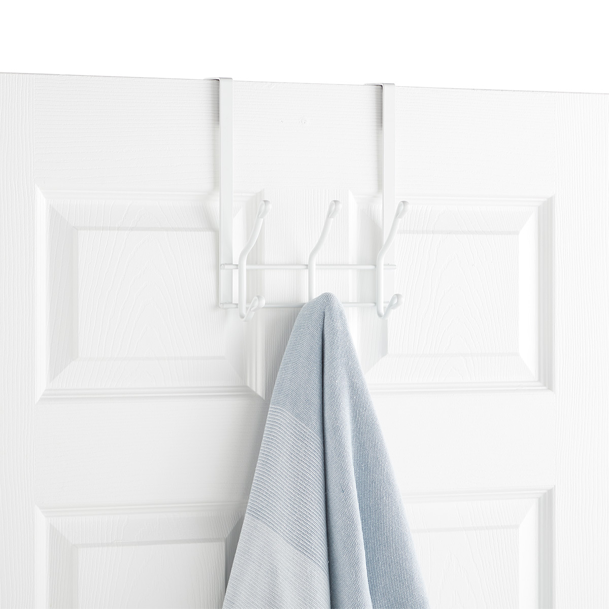 White Over the Door 3-Hook Rack