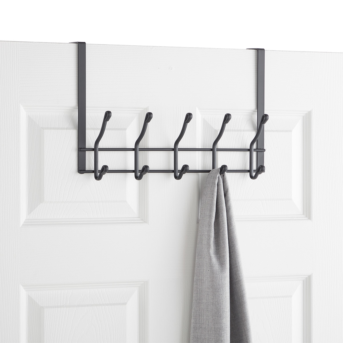 Grey Over the Door 5-Hook Rack