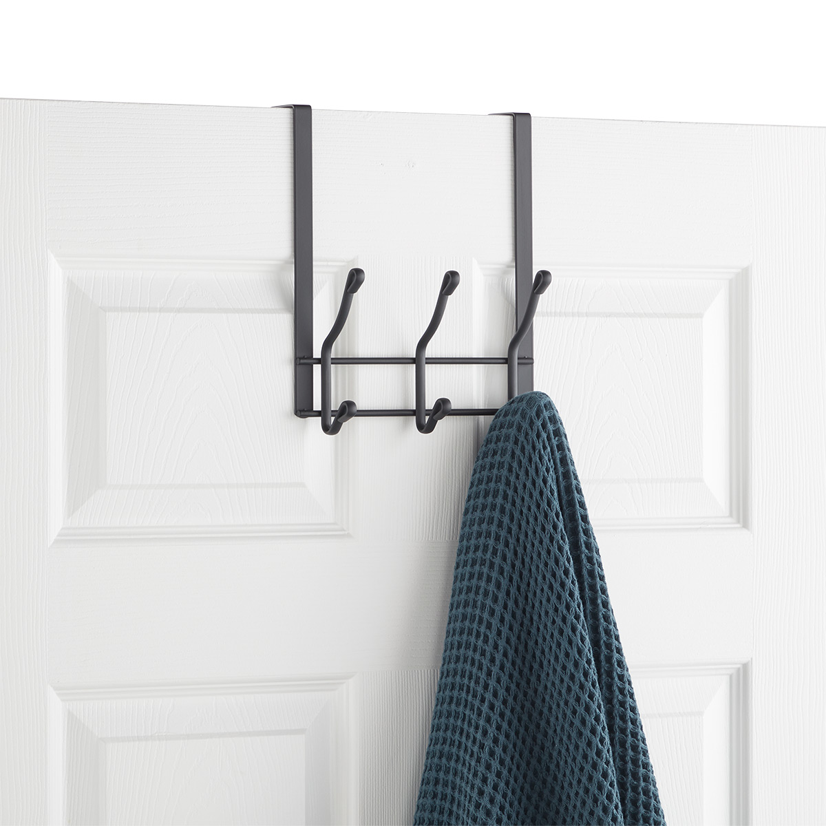 Grey Over the Door 3-Hook Rack