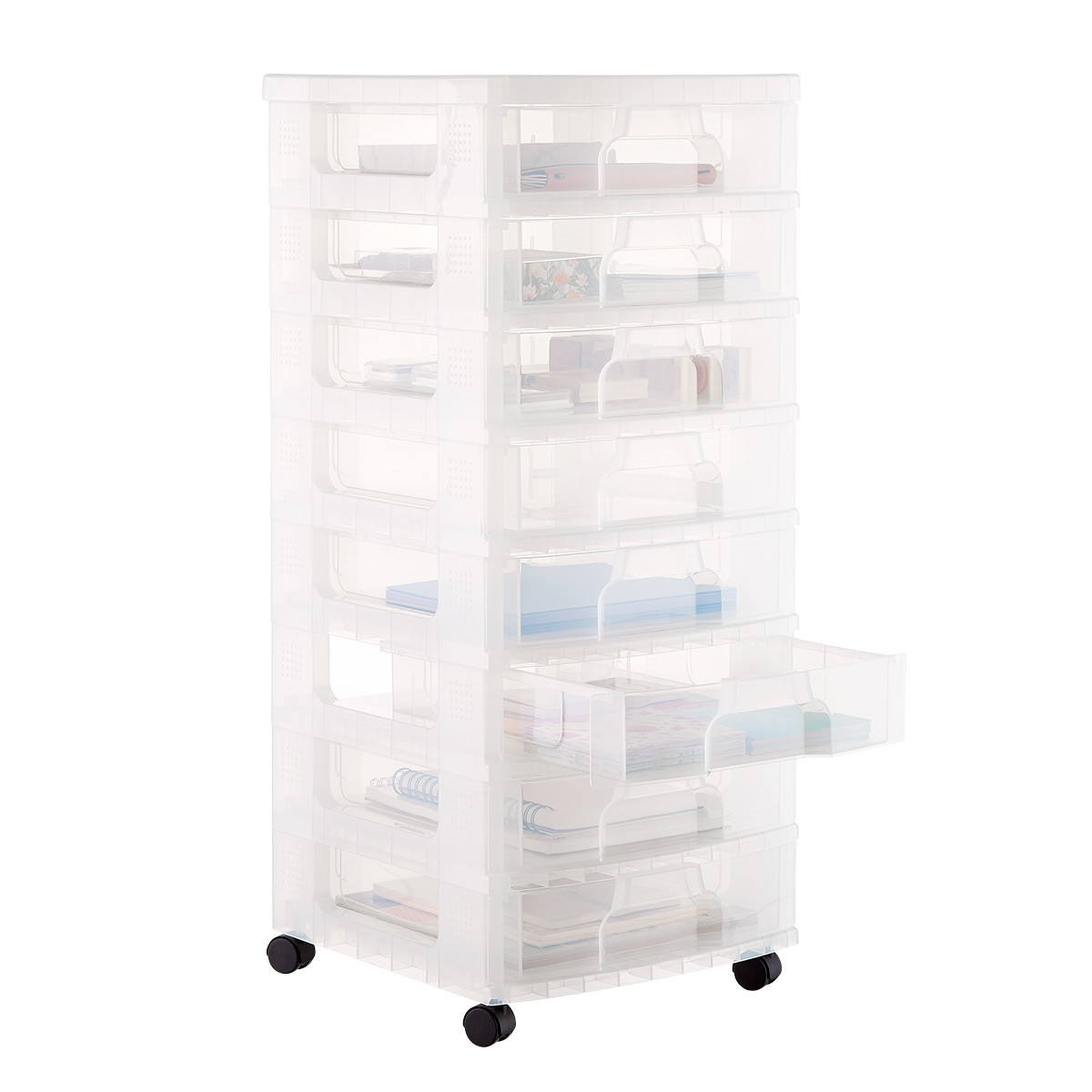 8-Drawer Clear Rolling Cart