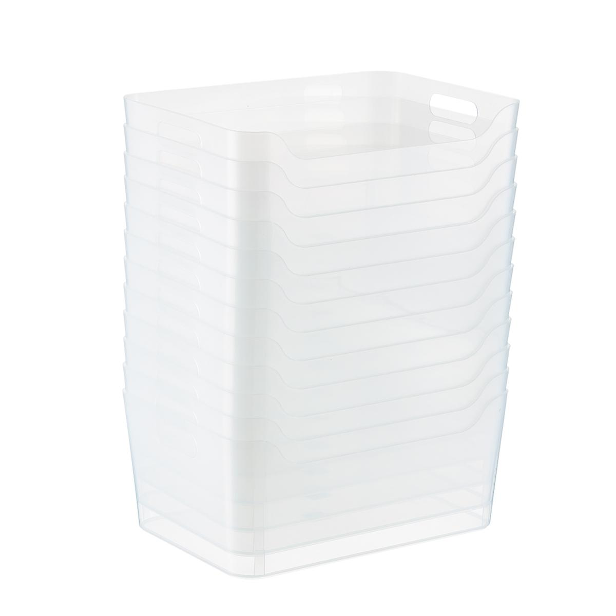Case of 12 of Clear Plastic Storage Bins with Handles
