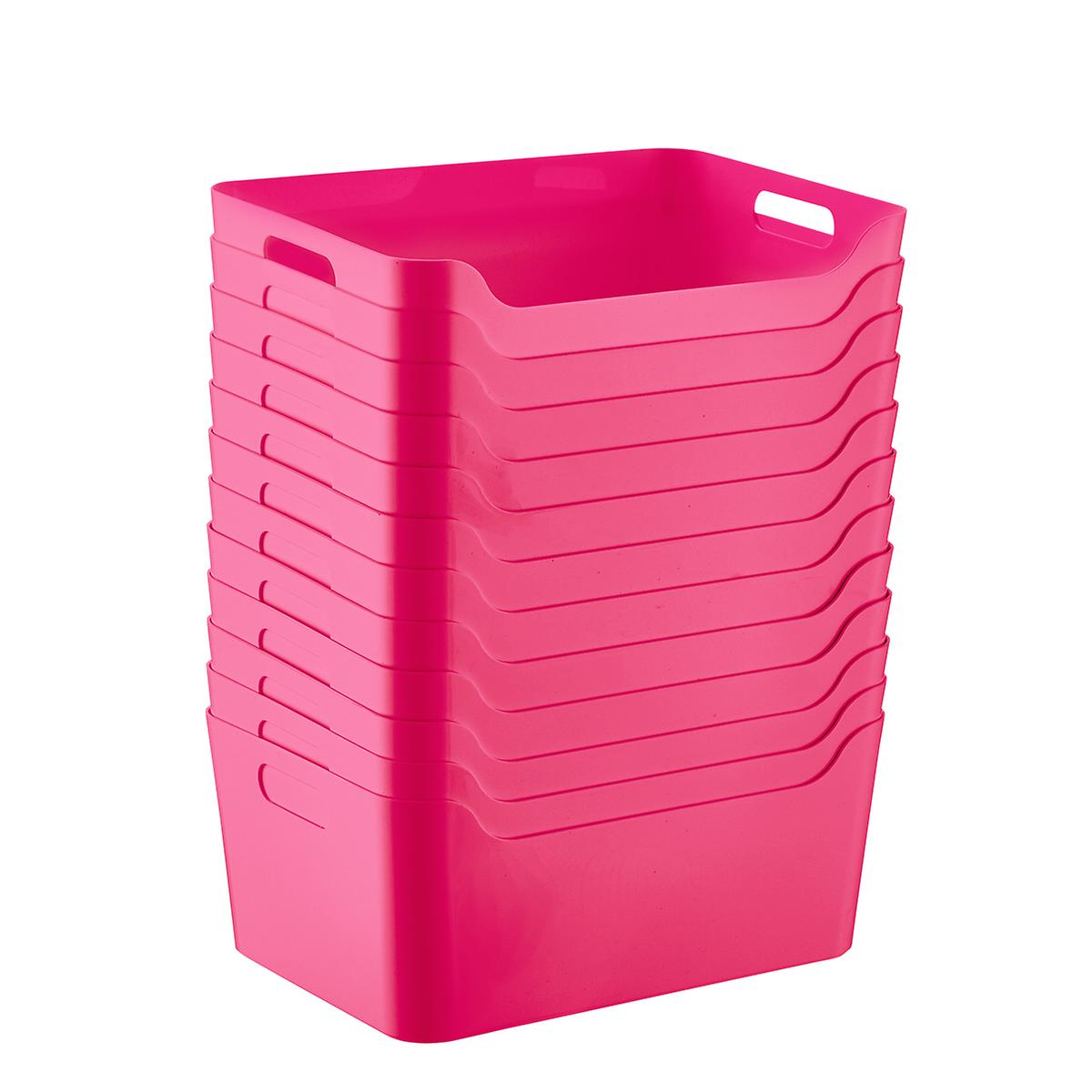 Case of 12 Fuchsia Plastic Storage Bins with Handles