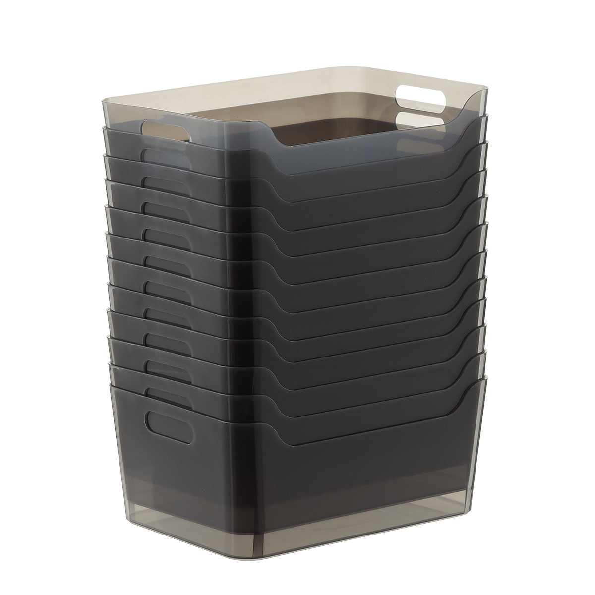 Case of 12 of Smoke Plastic Storage Bins with Handles