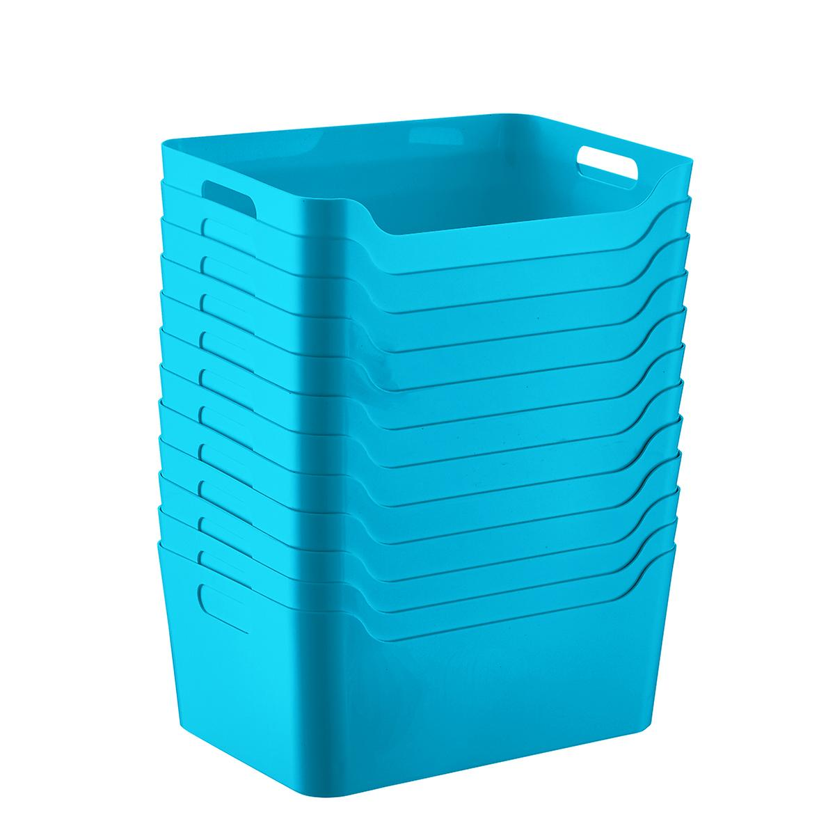 Case of 12 Peacock Plastic Storage Bins with Handles