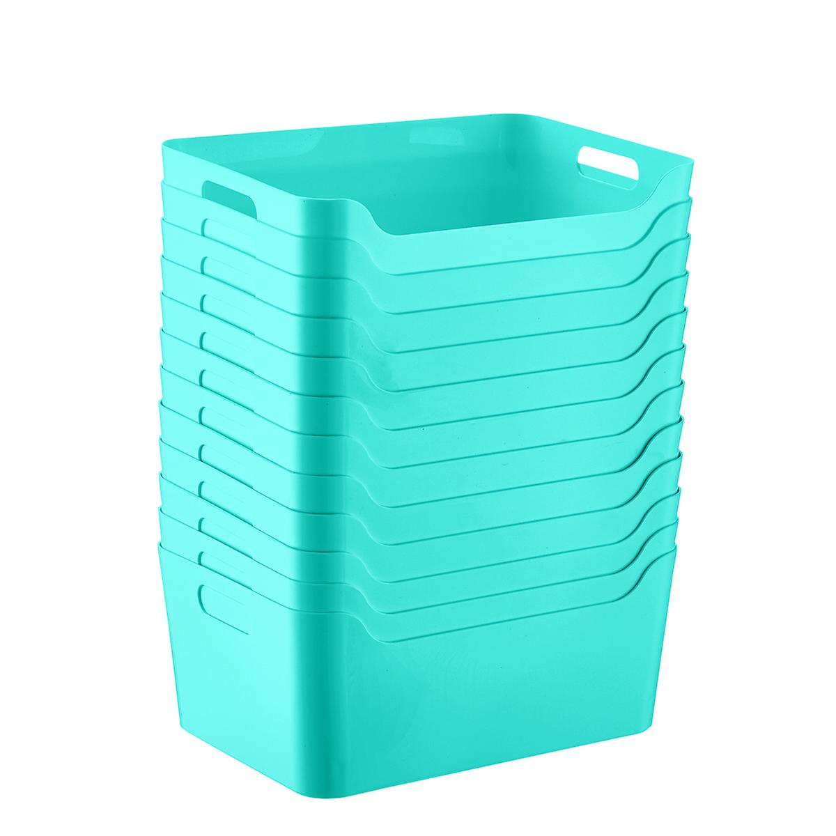 Case of 12 Aqua Plastic Storage Bins with Handles