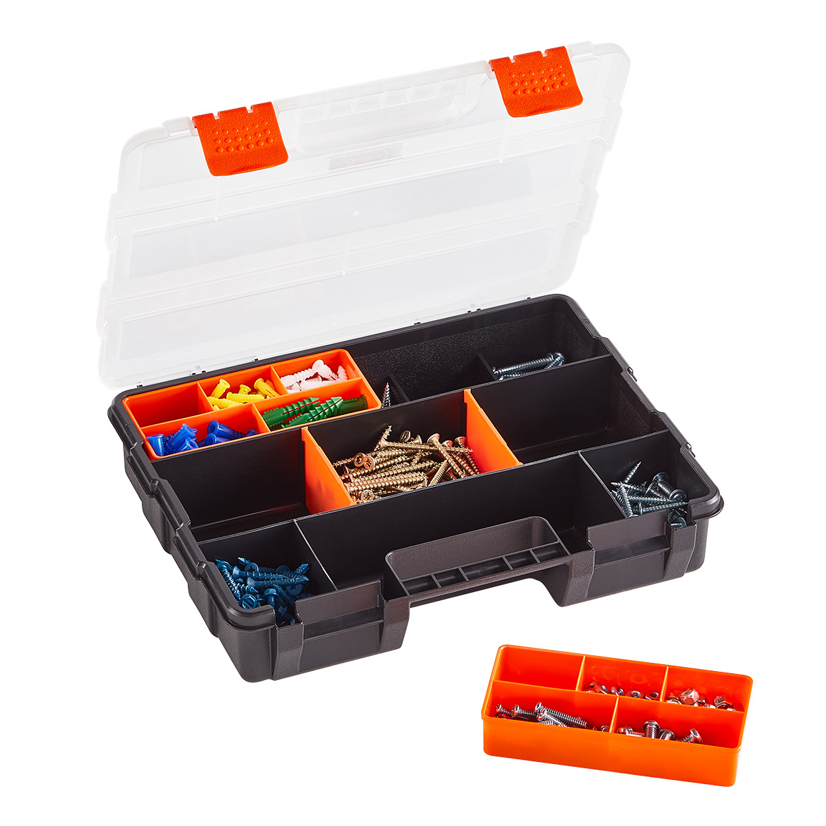 Small Parts Organizer with Removable Bins & Dividers