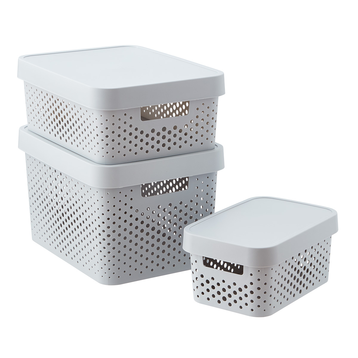 Curver Light Grey Infinity Plastic Storage Boxes with Lids