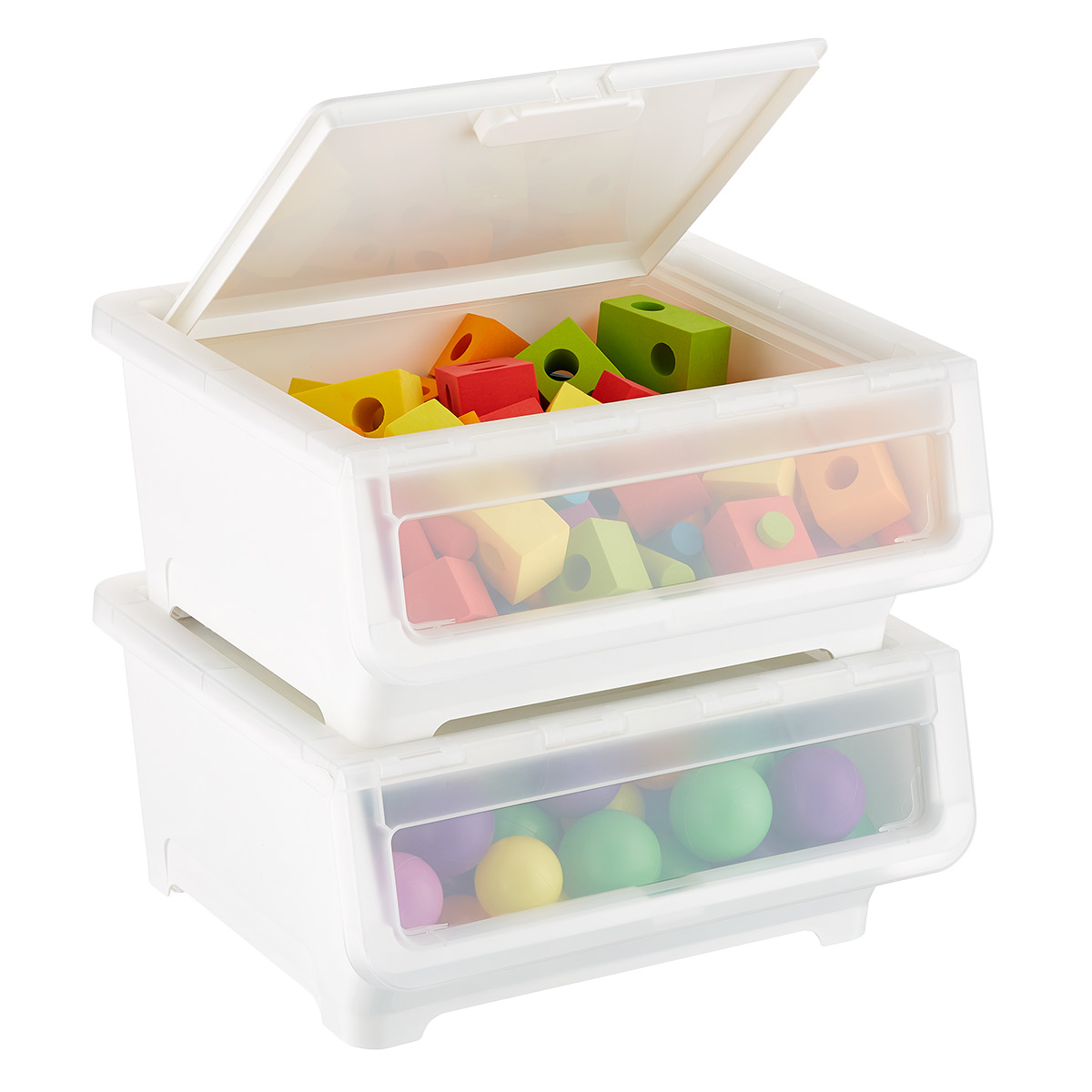 Short Picking Bin with Dual Open Lid