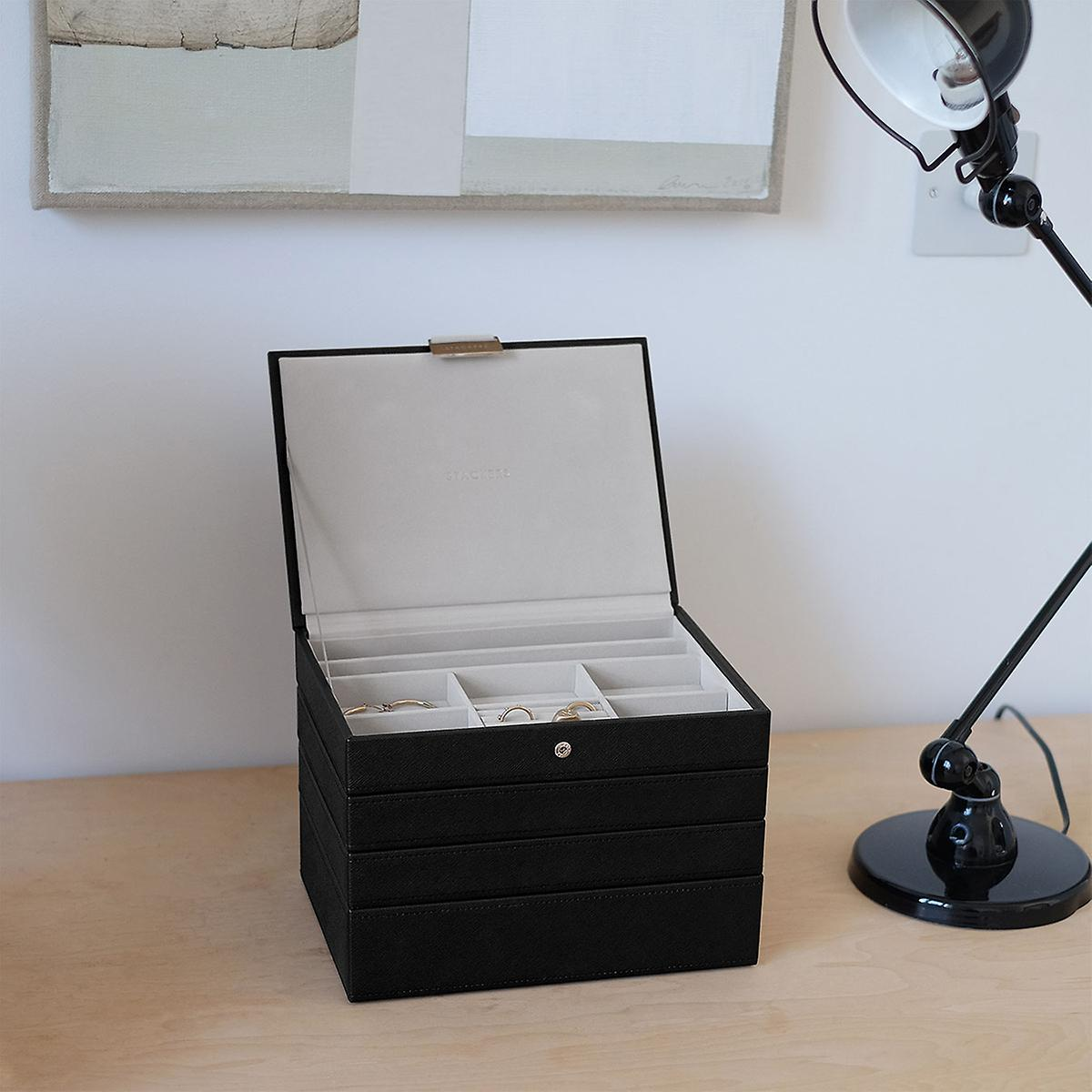 Stackers Black Classic Premium Stackable Jewelry Box