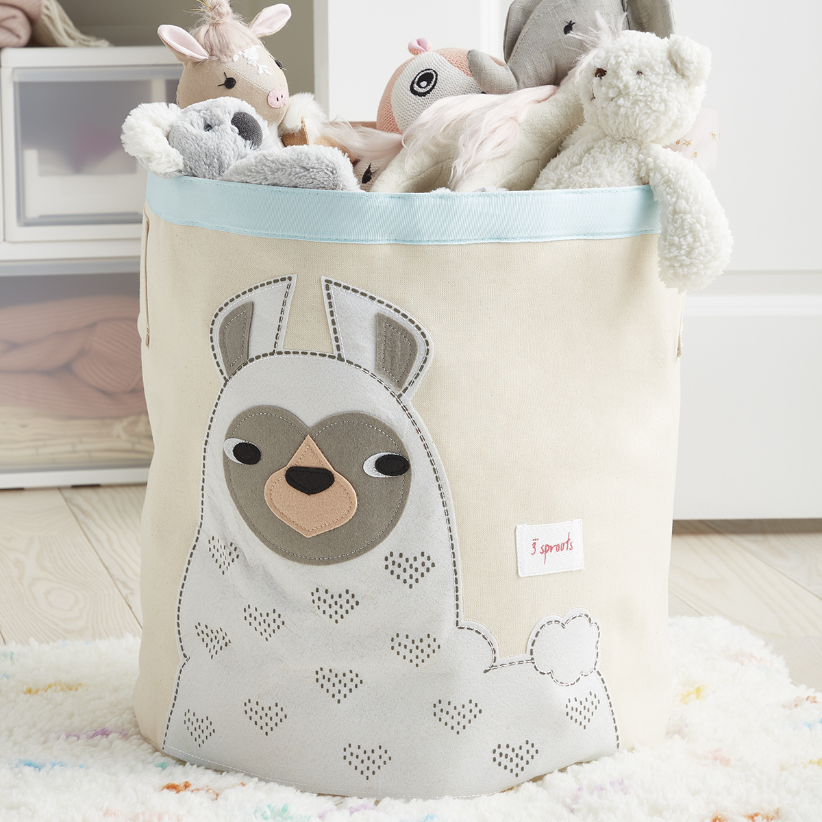 3 Sprouts Llama Canvas Toy Storage Bin