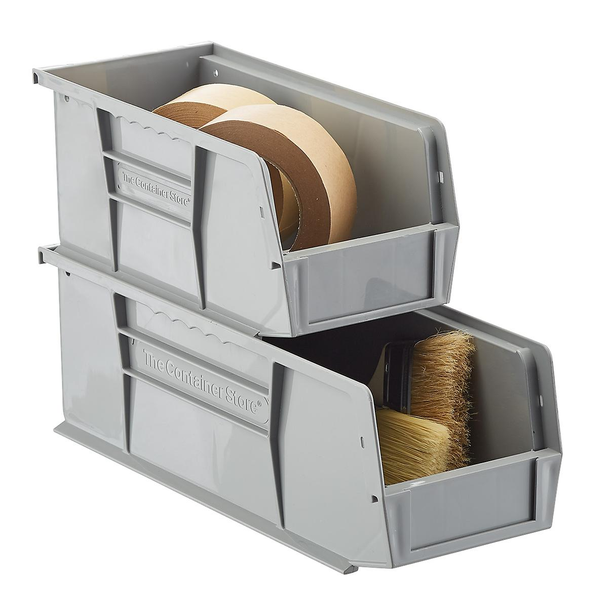 Grey Utility Narrow Stackable Plastic Bins