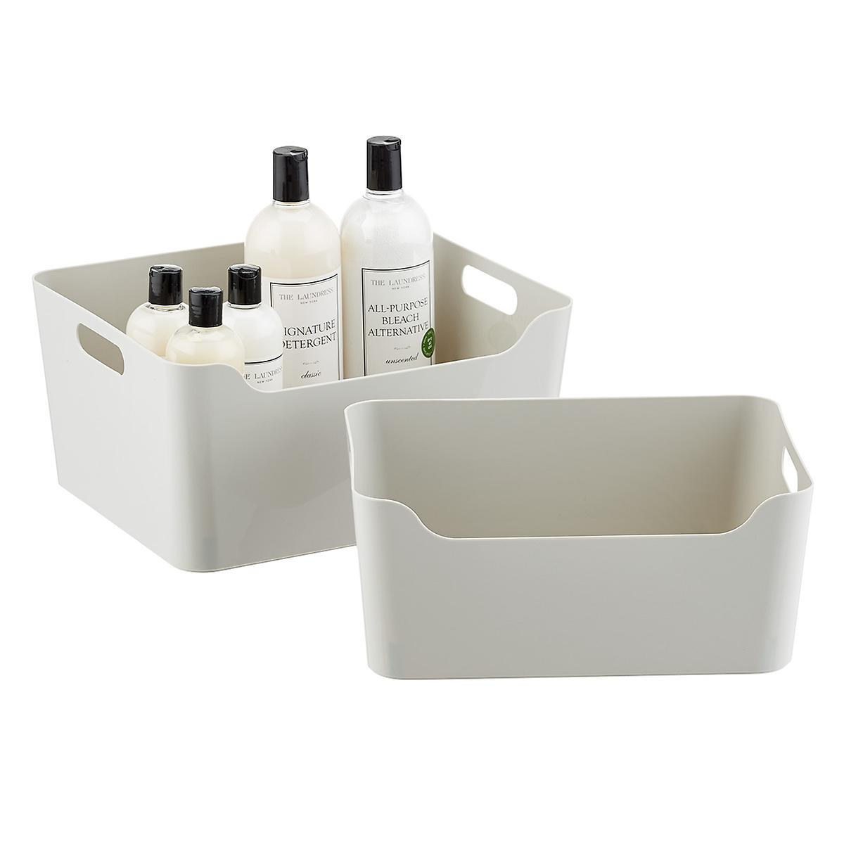Light Grey Plastic Storage Bins with Handles